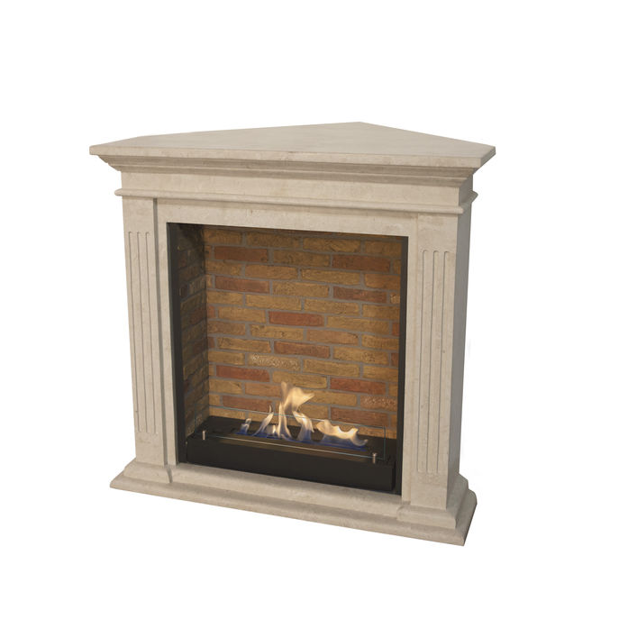 Xaralyn Cadiz Corner nature stone off white polished with built-in unit L with stone decor and bio ethanol burner L (5820B)