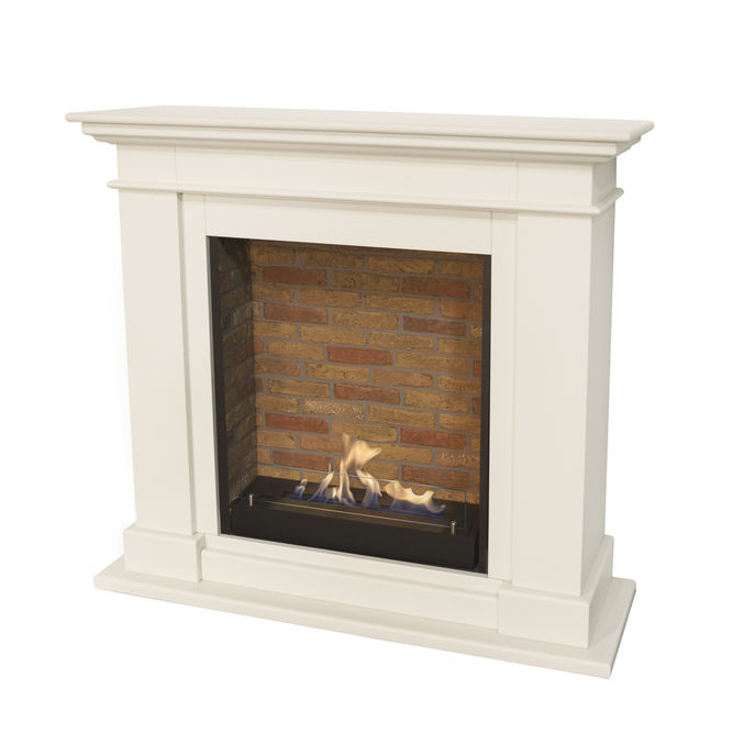 Xaralyn Kos MDF off white with built-in unit L with stone decor and bio ethanol burner L (5820B)