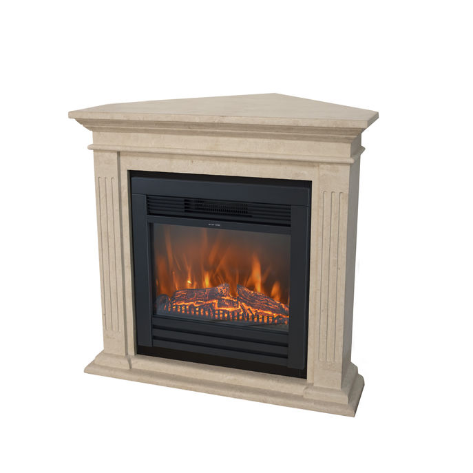 Xaralyn Cadiz Corner nature stone off white polished with Lucius electric LED fireplace