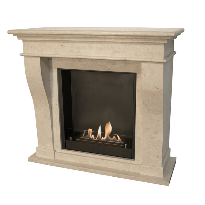 Xaralyn Kreta nature stone off white polished with built-in unit L with bio ethanol burner L (5820B)