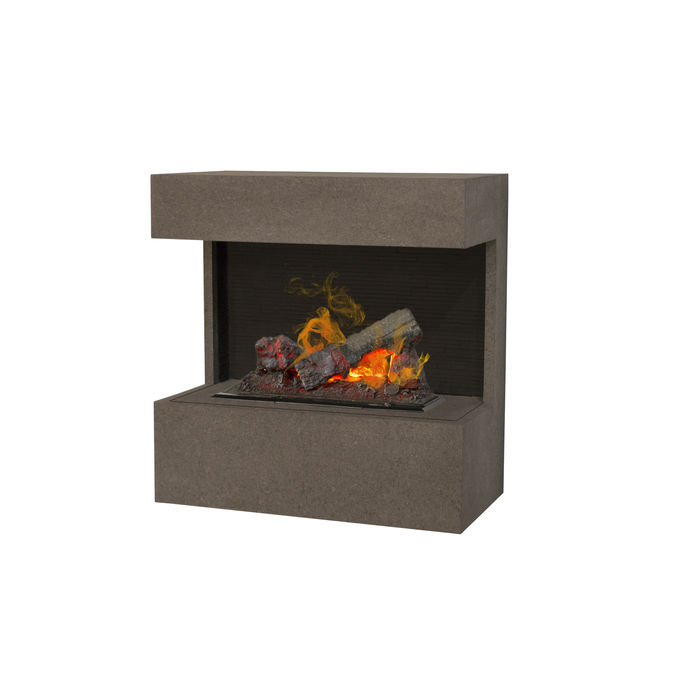 Xaralyn Nova wallsurround Concrete look grey with Opti-Myst Cassette 400 water vapour fireplace