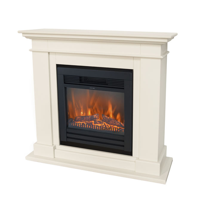 Xaralyn Kos MDF off white with Lucius electric LED fireplace