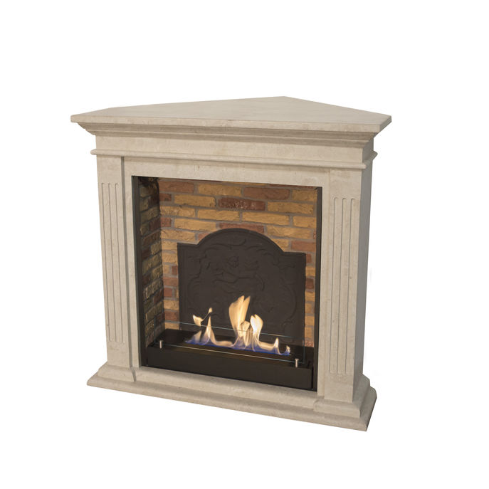 Xaralyn Cadiz Corner nature stone off white polished with built-in unit L with stone decore and medaillon with bio ethanol burner L (5820B)