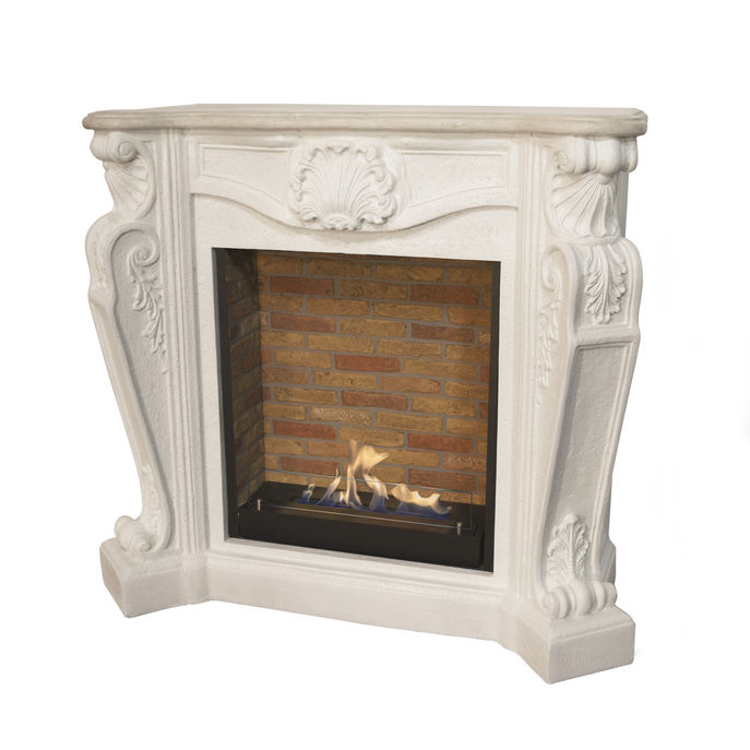 Xaralyn surround Louis composite stone off white with built-in unitL with stone decor and bio ethanol burner L (5820B)