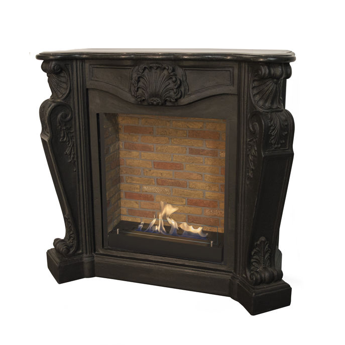 Xaralyn surround Louis composite stone black with built-in unit L with stone decor and bio ethanol burner L (5820B)