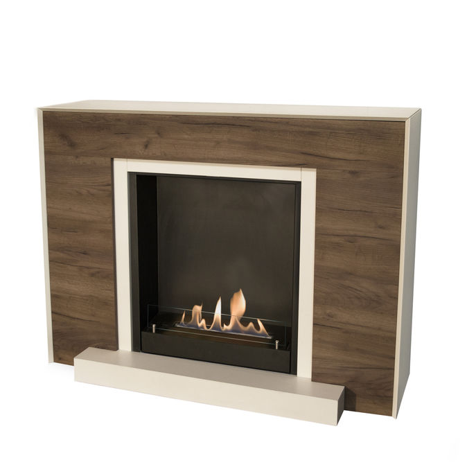 Xaralyn surround Marvik MDF white/oak with built-in unit L with bio ethanol burner L (5820B)