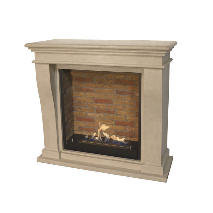 Xaralyn Kreta Mini nature stone off white polished with Built-in unit L with stone decor and bio ethanol burner L (5820B)