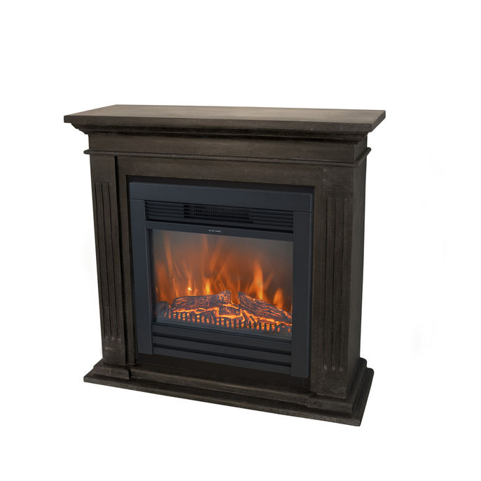 Xaralyn Cadiz naturstone black with Lucius electric LED fireplace
