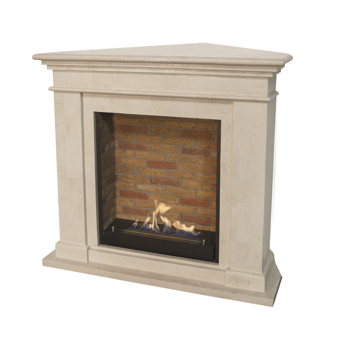 Xaralyn Kos Corner fossilstone white polished with built in unit L with stone decor and bio ethanol burner L