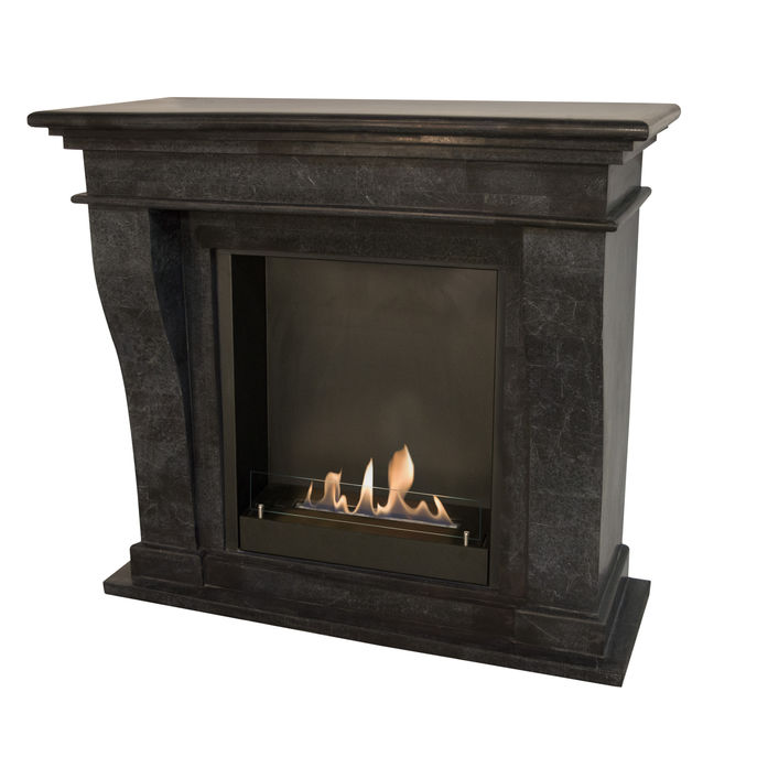 Xaralyn Kreta nature stone black polished with built-in unit L and bio ethanol burner L (5820B)