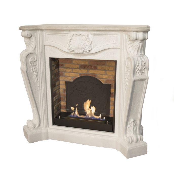 Xaralyn surround Louis composite stone off white with built-in unit L with stone decor and medaillon with bio ethanol burner L (5820B)