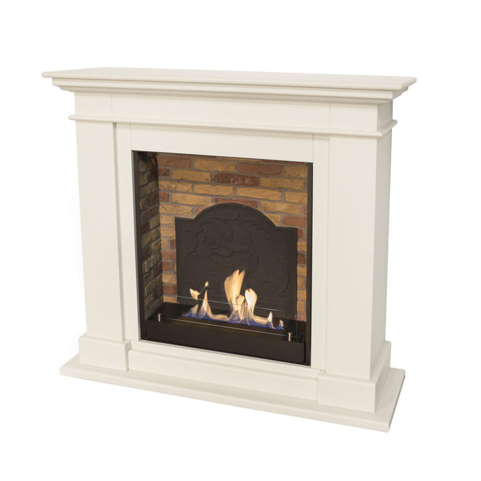 Xaralyn Kos MDF off white with built-in unit L with stone decor and medaillon and bio ethanol burner L (5820B)