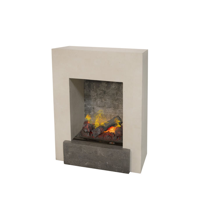 Xaralyn Todos nature stone off white polished with Opti-Myst Cassette 400 water vapour fireplace