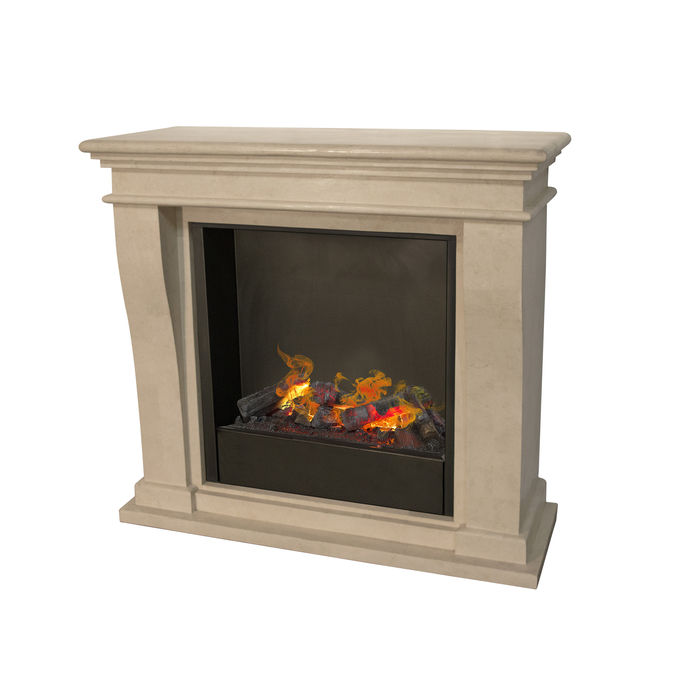 Kreta mini F02 naturestone with opti-myst Cassette 600 water vapour fireplace