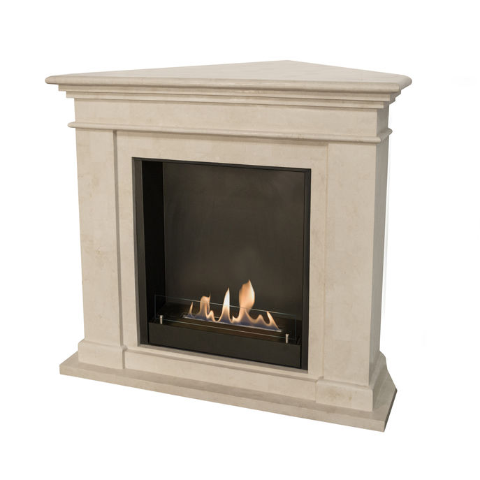 Xaralyn Kos Corner fossilstone white polished with built in unit L with bio ethanol burner L