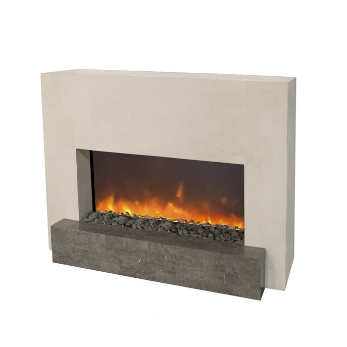 Xaralyn Santos nature stone off white polished with Trivero 90 Electric LED fireplace