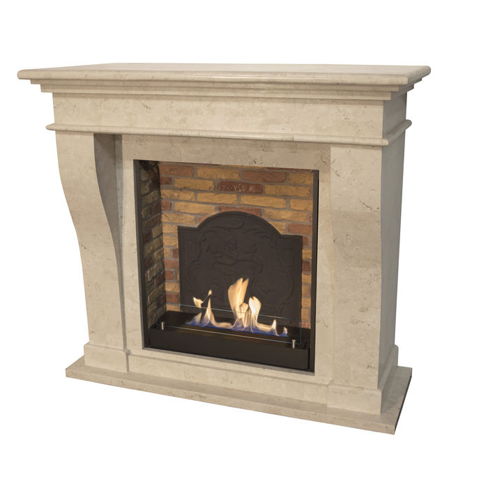 Xaralyn Kreta nature stone off white polished with built-in unit L with stone decor and medaillon with bio ethanol burner L (5820B)