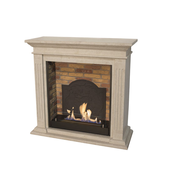 Xaralyn Cadiz Naturestone white with built-in unit L with stone decor and medaillon with bio ethanol burner