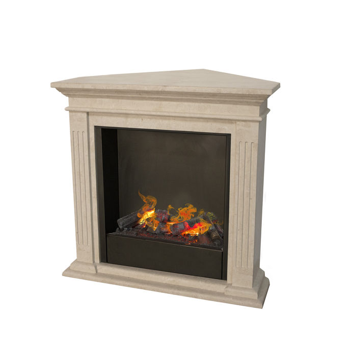 Cadiz corner F02 naturestone with Opti-Myst Cassette 600 water vapour fireplace