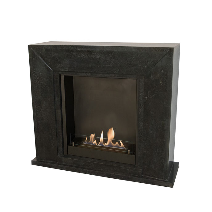 Xaralyn Nero nature stone black polished with built-in unit L and bio ethanol burner L (5820B)