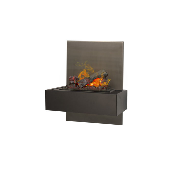 Xaralyn Quero wallsurround stainless steel with Opti-Myst Cassette 400 water vapour fireplace