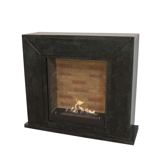 Xaralyn Nero nature stone black polished with built-in unit L with stone decor and bio ethanol burner L (5820B)