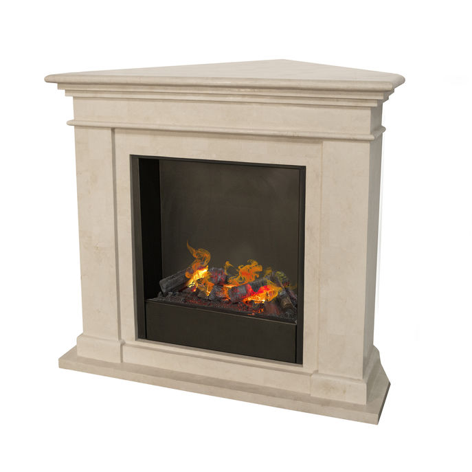 Kos Corner F02 naturestone with opti-myst Cassette 600 water vapour fireplace