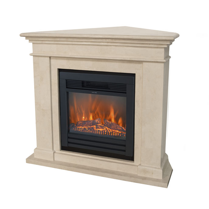 Kos Corner F02 naturestone with Lucius electric LED fireplace