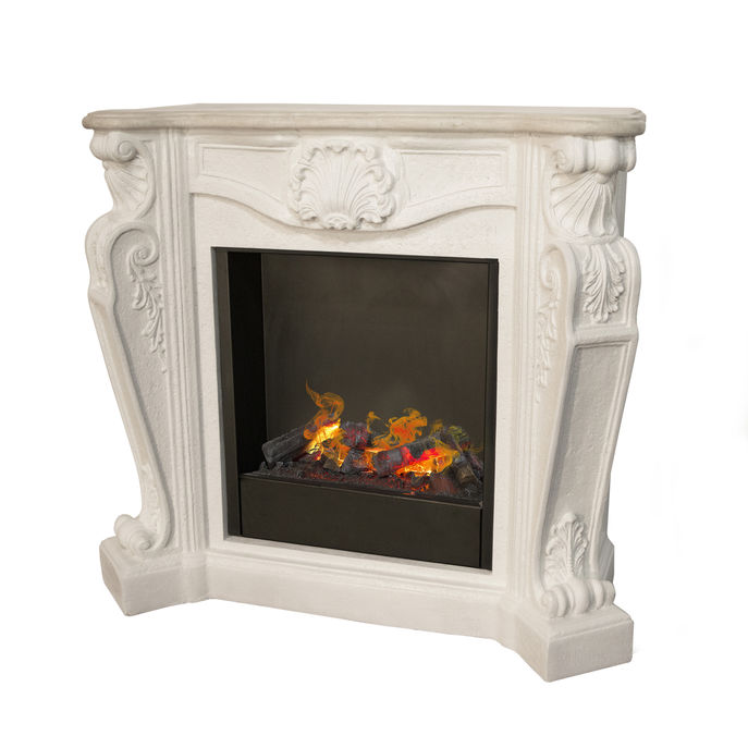 Louis CO2 caste stone white with opti-myst cassette 600 water vapour fireplace