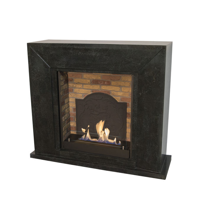 Xaralyn Nero nature stone black polished with built-in unit L with stone decor and mediallon with bio ethanol burner L (5820B)