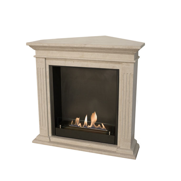 Xaralyn Cadiz Corner nature stone off white polished with built-in unit L and bio ethanol burner L (5820B)