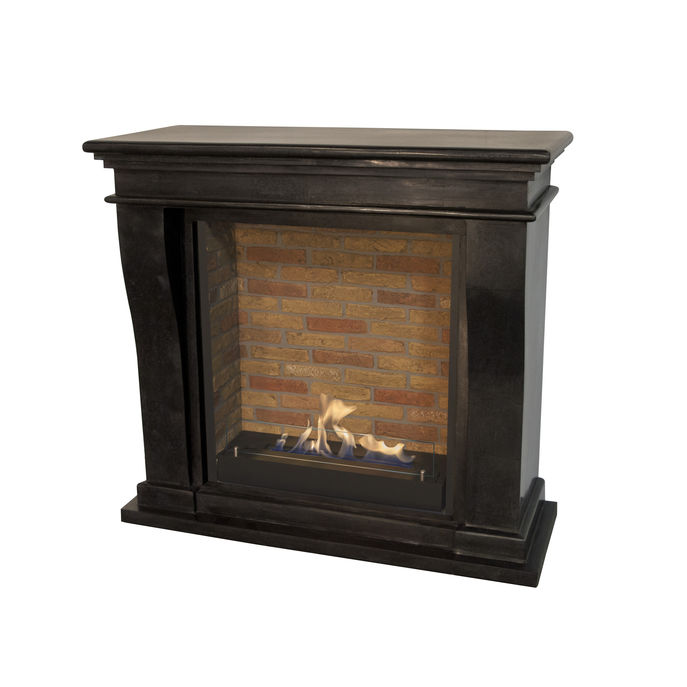 Xaralyn Kreta Mini nature stone black polished with Built-in unit L with stone decor and bio ethanol burner L (5820B)