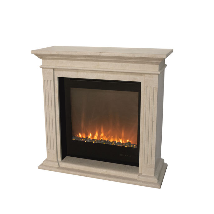 Xaralyn surround Cadiz fossilestone polished white with electric LED insert Trivero 70
