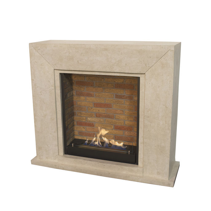 Xaralyn Nero nature stone off white polished with built-in unit L with stone decor and bio ethanol burner L (5820B)
