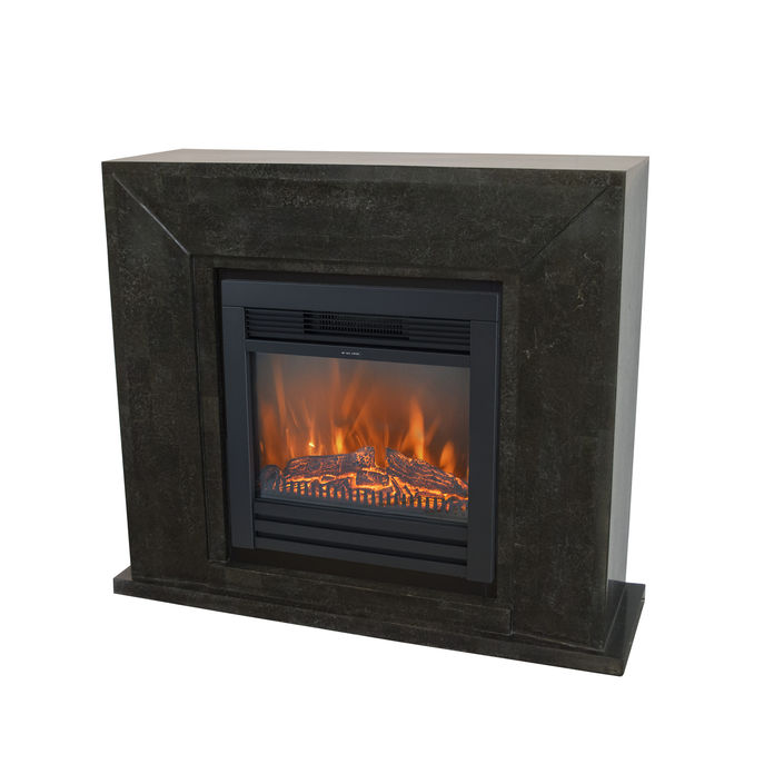 Xaralyn Nero nature stone black polished with Lucius electric LED fireplace