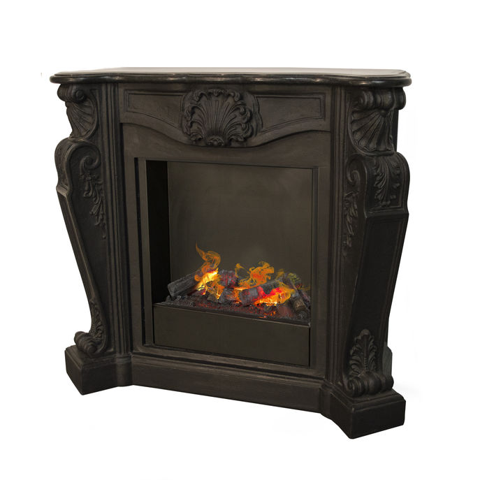 Louis C03 caste stone black with opti-myst cassette 600 water vapour fireplace
