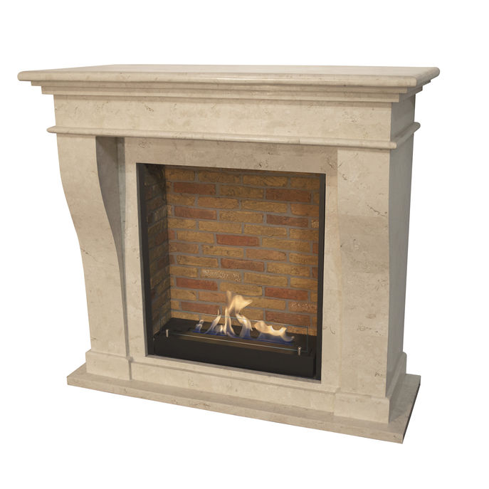 Xaralyn Kreta nature stone off white polished with built-in unit L with stone decor and bio ethanol burner L (5820B)