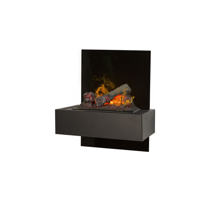 Xaralyn Quero wallsurround black glass with Opti-Myst Cassette 400 water vapour fireplace
