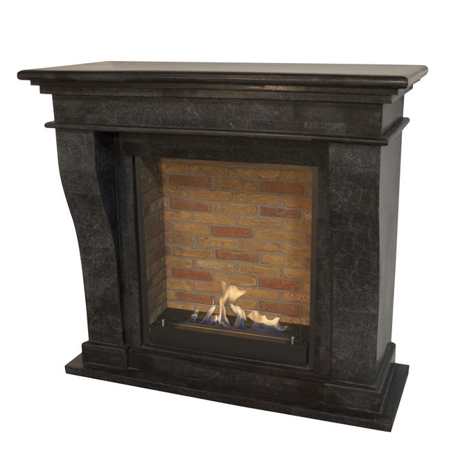 Xaralyn Kreta nature stone black polished with built-in unit L with stone decor and bio ethanol burner L (5820B)