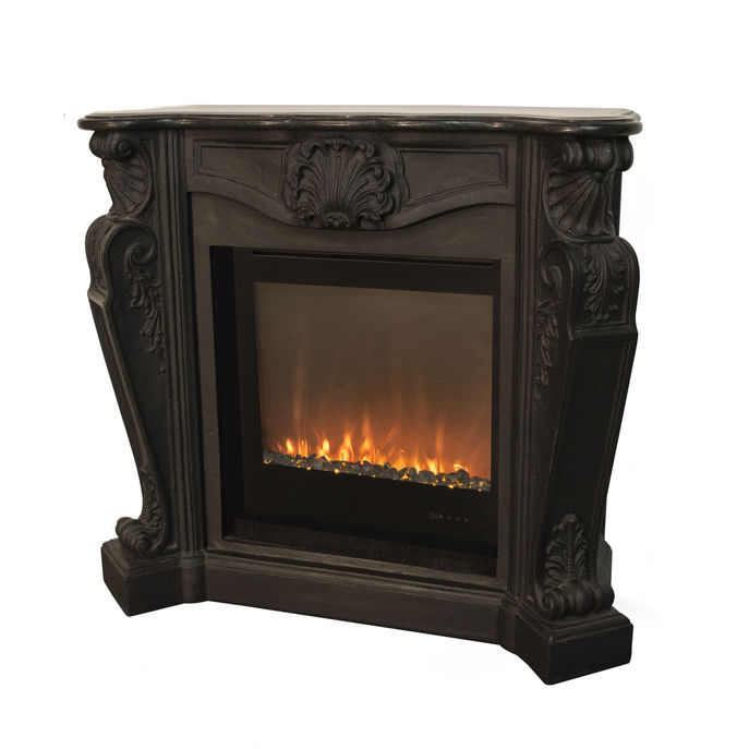 Xaralyn surround Louis composite stone black with Trivero 70 Electric LED insert