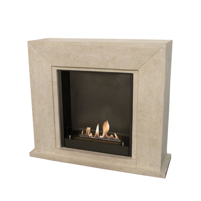 Xaralyn Nero nature stone off white polished with built-in unit L and bio ethanol burner L (5820B)